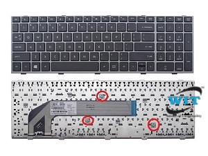 Hp Probook 4540s 4545s 4740s 4745s 701485-001 Keyboard Us With Frame Silver