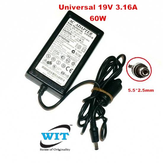 Acbel Polytech Universal 19V 3.16A 60W 5.5*2.5mm Original AC Power Adapter  or Charger for Fujitsu/Toshiba/Asus/Lenovo laptop API-7629 - WIT ComputersWIT Computers